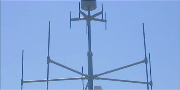 5-Element Direction Finding Antenna for frequency range of 20 MHz to 3.6 GHz