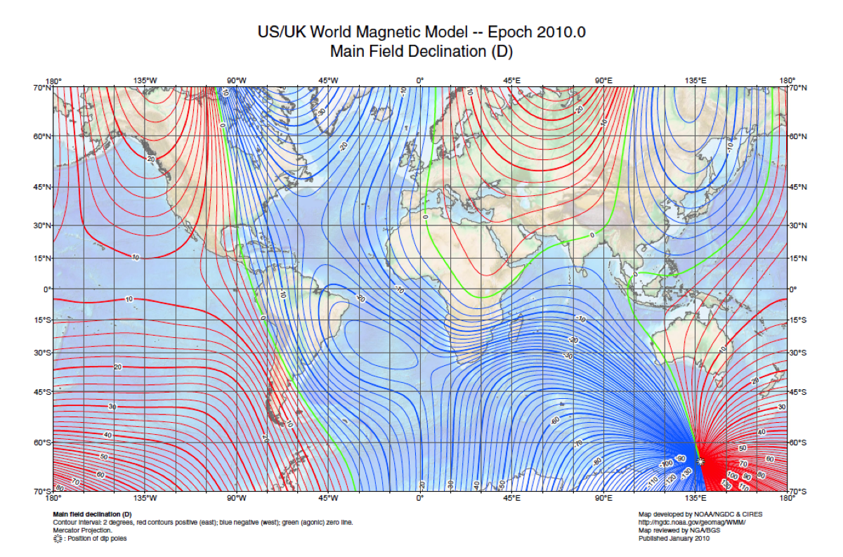 Magnetic declination map 2010